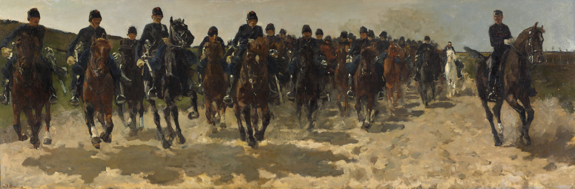 George Hendrik Breitner, Cavalry, 1883-1888, oil on canvas, 100,6 x 300.3 cm, Kunstmuseum Den Haag.