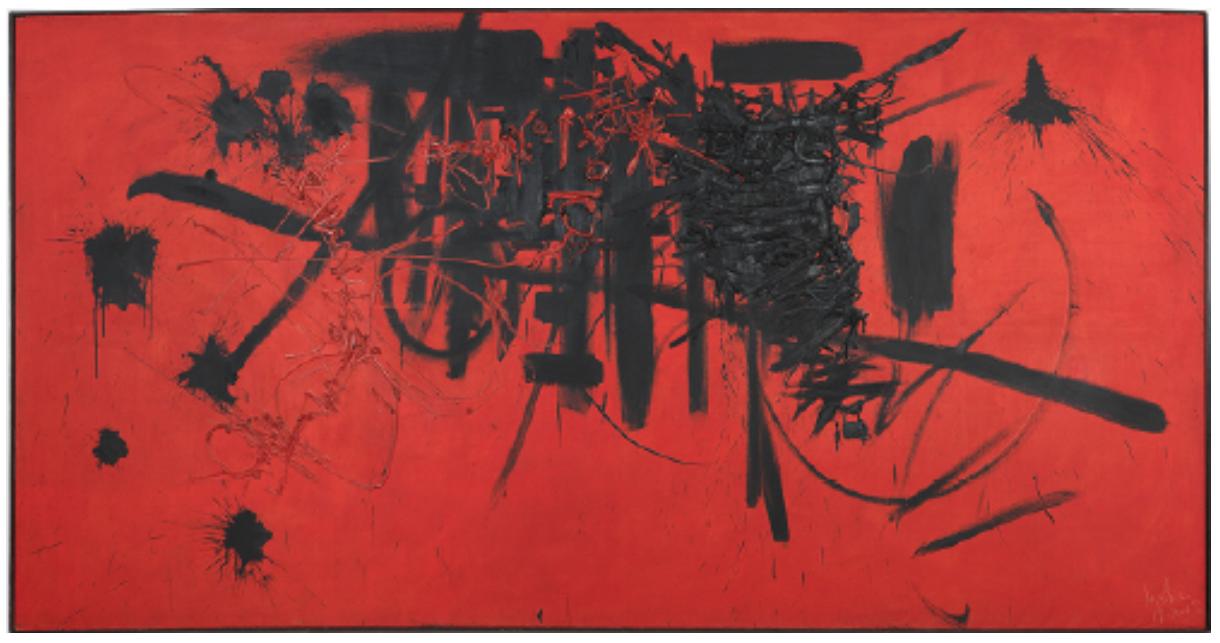 Georges Mathieu Hommage au maréchal de Turenne 19 janvier 1952 Produced at Studio Fachetti in less than three quarters of an hour Oil on canvas 200 x 400 cm Centre Pompidou, Mnam-CCI, Paris, dation in 2015. © Adagp, Paris