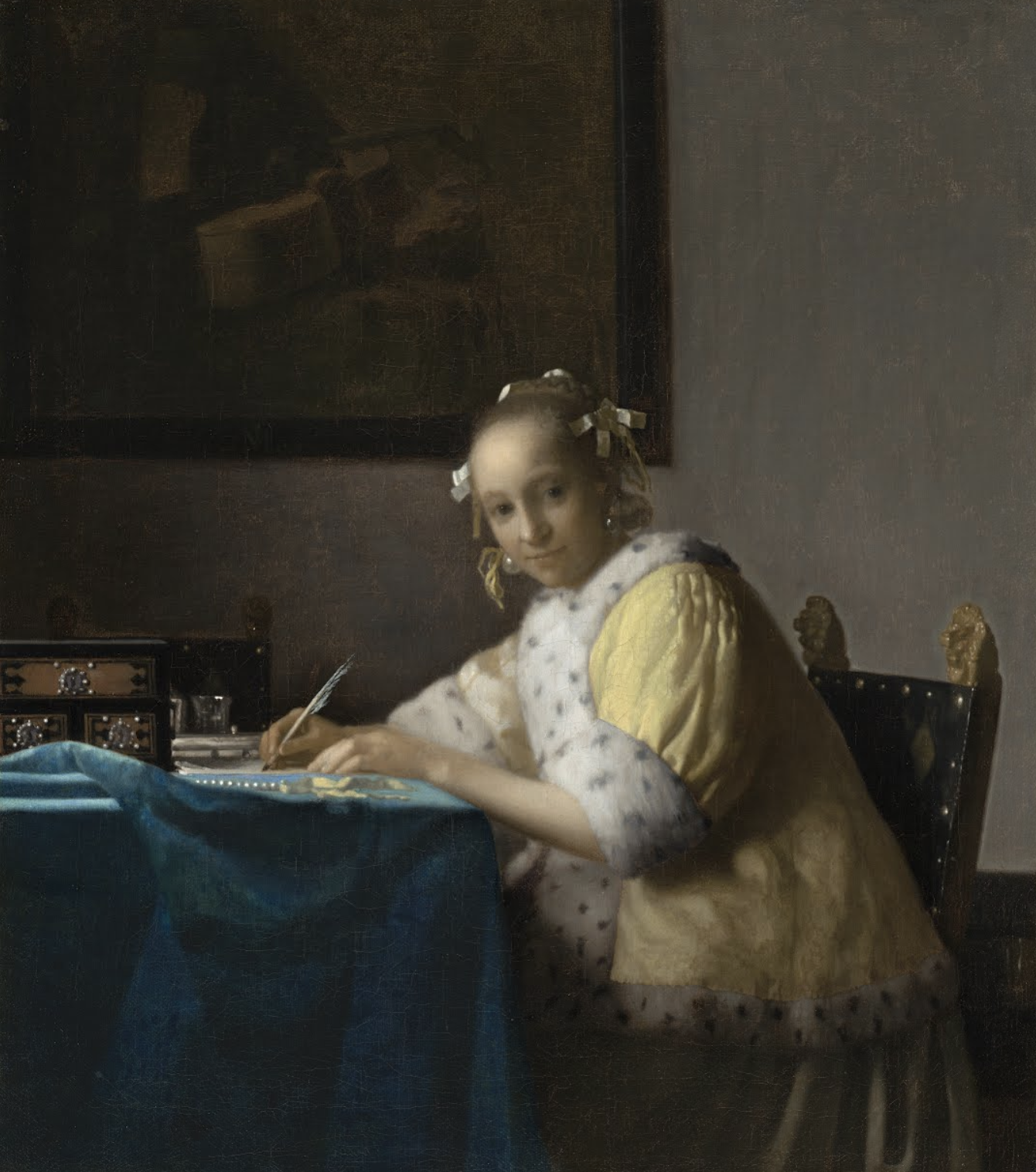 A Lady Writing - Johannes Vermeer - c. 1665